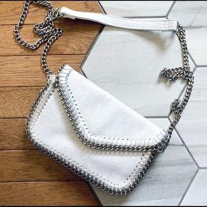 Sondra Roberts Squared White/ Silver Crossbody Bag